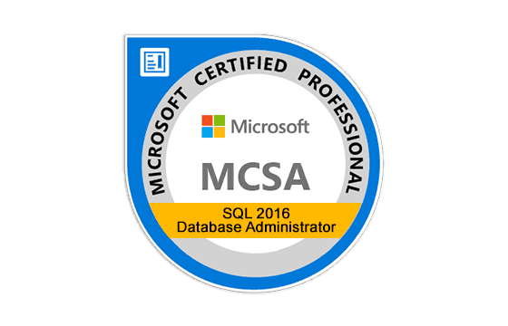 Microsoft Certified Solutions Accosiate SQL 2016 Database Administration